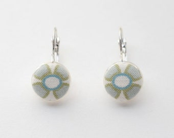 Cute as a button: earrings adorned with handmade fabric covered buttons