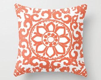 Coral Flower Pillow Cover - Modern Medallion Throw Pillow - Accent Pillow - Decorative Pillow - Designer Pillow - Home Decor - Aldari Home