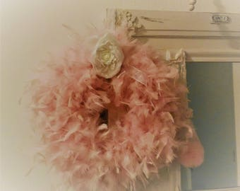 Very shabby chic inspired pink feather Crown
