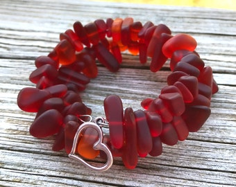 Sea Glass Shades of Red Ruby Cherry  with Heart Charm Wrap Bracelet by Wave of Life