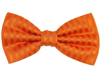 Men's Vertical tone on tone Striped Orange Pre-Tied Bowtie, for Formal Occasions (625)