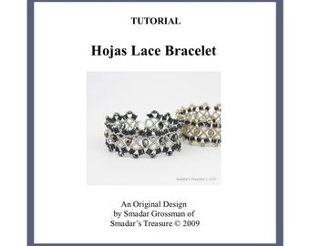 Beading Tutorial, Hojas Lace Bracelet. Beading Pattern with Bugle Beads, Crystals or Fire Polished Beads. Beadwork Beadweaving Lace Bracelet