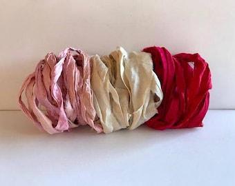 Silk Sari Ribbon-Pink, White, Red Recycled Sari Ribbon-9 Yards