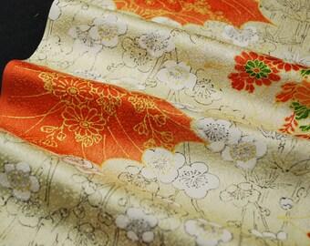 "14.5""w. x 16.1""l. Vintage silk kimono fabric beige and orange cloud and ume plum blossom 2817xA"