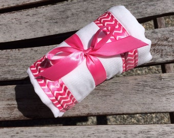 Burp Cloth / Changing Pad: My Pretty Burpy Chevrons on Hot Pink, Personalization Available