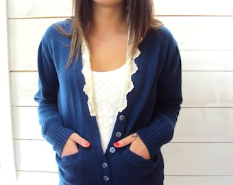 vtg 70s wool cardigan sweater / Lace Collar EDWARDIAN Sweater / Wool  XS, S / Skinny Sweater