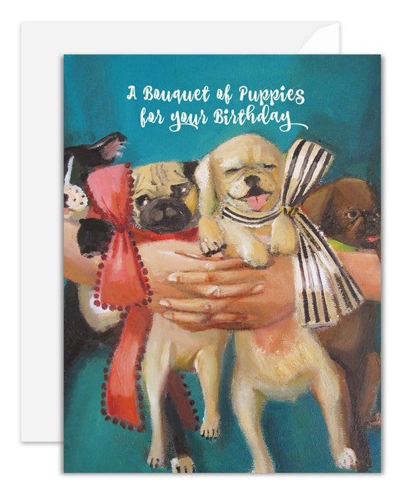 Bouquet of Puppies. Birthday Card. SKU JH1119