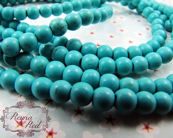 Turquoise Dyed Howlite Smooth Round Beads, blue beads, howlite beads, gemstone round, dyed gemstone strands, beading -  reynaredsupplies