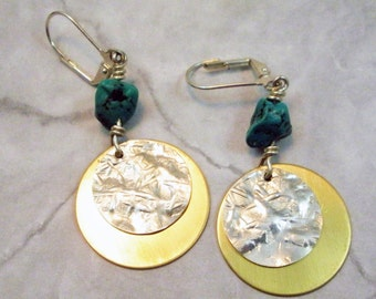 Turquoise Nuggets with Sterling Silver and Brass Discs Earrings