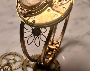 Exquisite SteamPunk Pocket Watch and Cameo  fashion repurposed Bracelet art