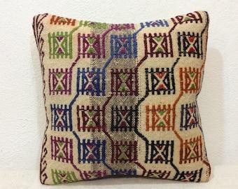 "Kilim pillow cover 16""x16"" 40x40cm,Old kilim,Vintage,Embroidery,Handmade,Handwoven,Children's room,Home Decor,Turkey"