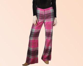 90s MAJOR Plaid Flare Pants Low Slung Grunge Girl Extraordinaire Skater Girl Boy Pink Pants Vintage VTG
