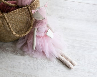 Evelyn, Cat Doll Ballerina, Natural Fabrics, Stuffed with pure wool, Pink Tutu Skirt, Large Art Doll, Linen Toy