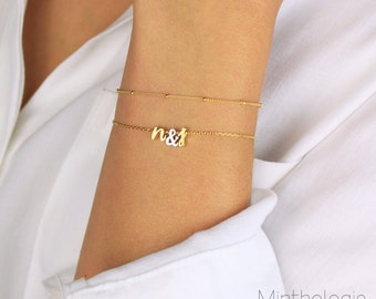 Initials Bracelet with Ampersand or Heart B4 • Love Bracelet, Script Initial Bracelet, Heart Bracelet, Personalized Bracelet, Gift For Her