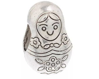 2 nesting doll charms silver metal beads