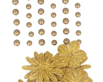 Self-adhesive pearls and flowers in paper Gold - Flower embellishment - paper flower