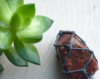 Red Jasper Chakra Crystal Necklace - Hemp Wrapped Stone Jewelry - Jasper Pendant - Crystal Jewelry - Hippie Style Necklace - Earthy Macrame