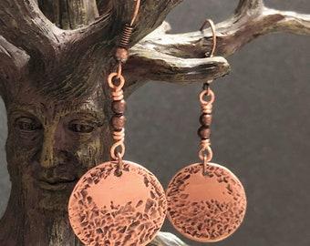 Textured Copper Earrings, Dangle Copper Earrings, Women's Earrings, Gift for her, Copper Earrings, Unique Earrings