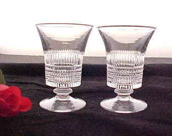 1920s Fenton Lincoln Inn Clear Fruit Juice (2), Vintage Depression Glass Stemware, Pair of Crystal Footed Tumblers