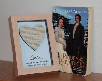 Vintage Pride and Prejudice Jane Austen Box frame art, with a hand stamped, embossed Love quote beneath.