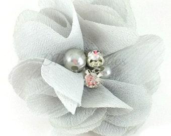 "2"" Light gray chiffon rhinestone and pearl flower - Petite fabric flowers - Small flowers - Gray flowers - Wedding flowers - Pick 1 or 3"
