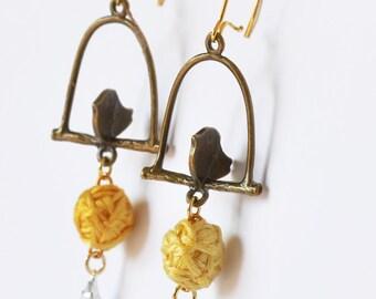 Drop Winter Bird Earrings - Dangle earrings - Rhinestone Earrings - Eco Friendly Jewelry - Handmade Bead Jewelry - Hand Sewn Accessories