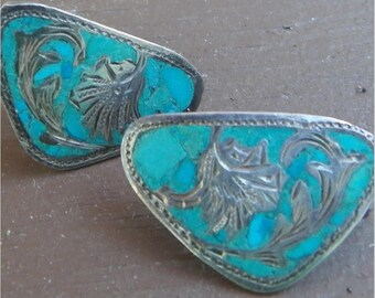 TURQUOISE and SILVER EARRINGS, Screw Back Pair, Inlaid Mosaic Design, Vintage Costume Jewlery