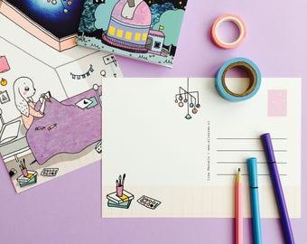 Postcard Midnight Drawing - greeting card A5 | cute stationery, space card, cute postcard, night sky, moon print, bunny card, illustration
