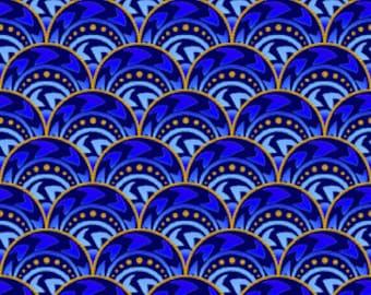 Celestial Blue Fan Jason Yenter Fabric 27 inches LAST IN STOCK