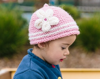 Pink Knitted Beanie with Flower - Pink Knitted Hat with Stripes - Knitted Beanie for Girl in Sizes 3 Months to 5 Years