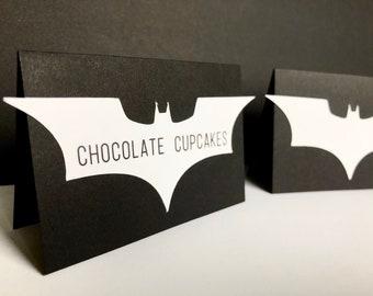 Batman Food Label Tents - Modern Superhero Party