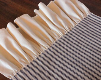 Ruffled Cotton Striped Ticking Table Runner - Select Muslin or Ticking Ruffle - Different Lengths and Colors Available