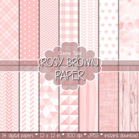 "Rose digital patterns: ""ROSY BROWN PAPER"" with rose gingham, chevron, watercolour, triangles, leaves, stars, stripes, wood, linen pattern"