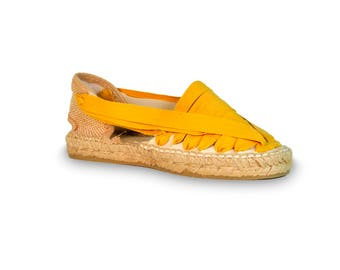 stretch lace espadrilles - mustard - lace-up sandals, espadrilles, espadrilles laces, lace up wedges ,wedge sandals, wedges