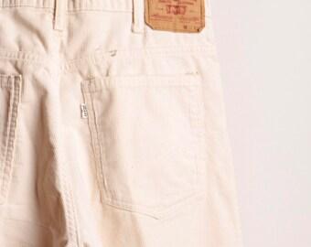 LEVI'S vintage men's corduroy CREAM pants STA Prest style size 34 x 32