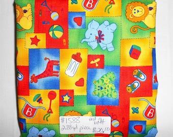 Fabric - 2.88 yard piece- Baby/Animal/Circus/Primary Colors/lion/elephant/giraffee/bottle/ball/heart (#1588)