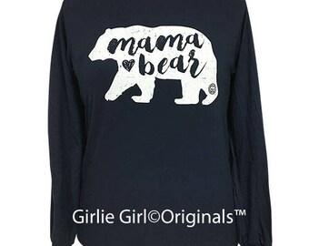 Girlie Girl Originals Mama Bear Long Sleeve Navy T-Shirt