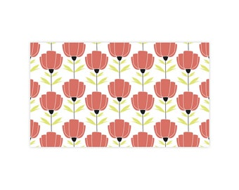 Poppies - Little Notes - Set of 10 Enclosure Cards, Envelopes, Gold Closure Stickers - Flower, Floral, Wedding (LN405)