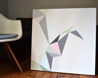 Acrylic painting on canvas - origami bird