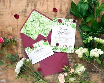 Greenery Wedding Invitation Set, Marsala, Wedding Invites, Floral Watercolor, Outdoor Wedding, Nature Wedding Invite Template