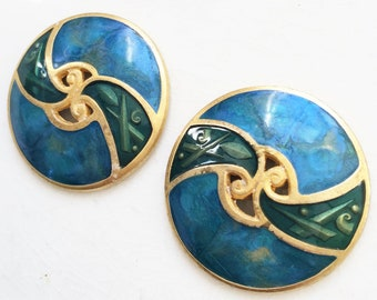 2pcs salvaged large brushed gold tone metal blue and green enameled earring jewelry components