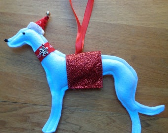 Handmade White felt Christmas Whippet, Greyhound, Lurcher type dog hanging decoration