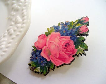 Pink Rose Pin, Blue Flower Lapel Pin, Sweater Pin, Brooch, Flower Pin, Weddings, Pin, Wood Jewelry, Scarf Pin, Wood Laser Cut, Decoupaged