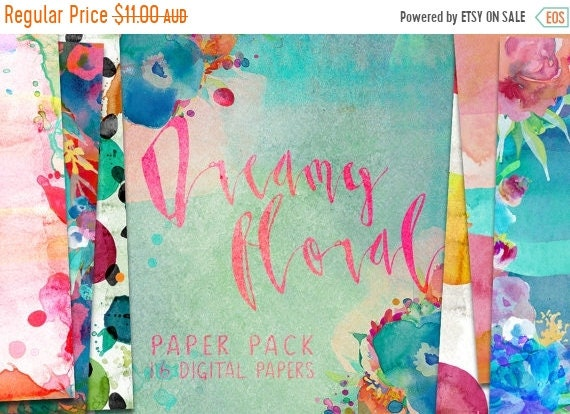 70% OFF Sale Dreamy Floral Watercolor Digital Paper Pack Patterns - 16 digital painted backgrounds