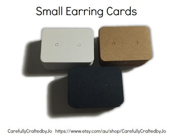 Set 25, 50,100,200 Small Earring Cards - Kraft, White, Navy - Gifts, Packaging
