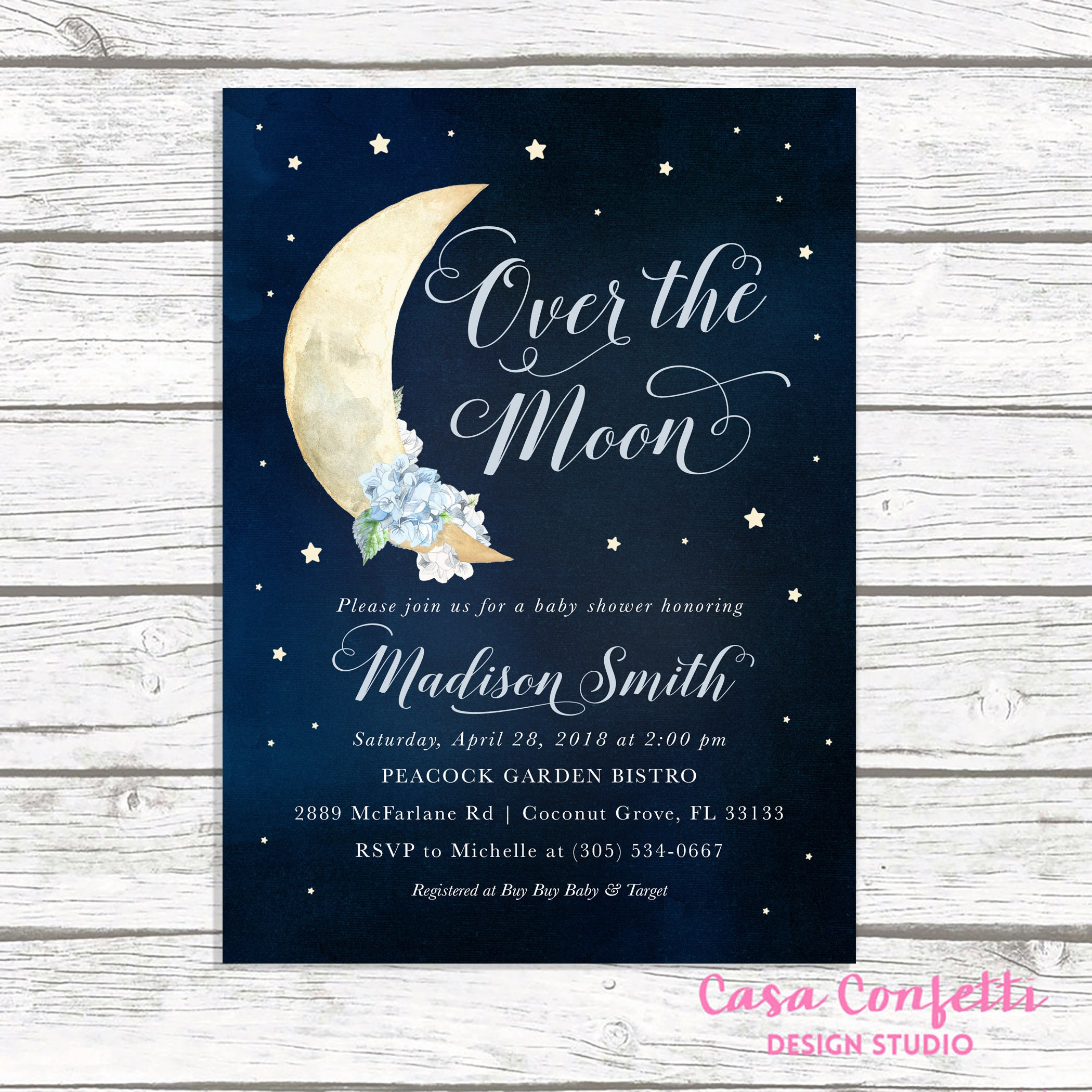 Over the Moon Baby Shower Invitation Moon and Stars Baby