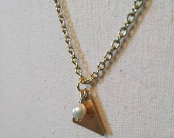Triangle & Pearl Duo Necklace