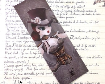 Steam T glossy bookmark // Steampunk pinup