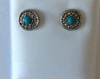 Hypo Allergenic 3 pair of Stud Earrings Blue Surgical Steel posts