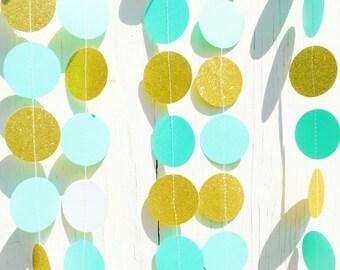 Mint, Emerald, & Gold Glitter  Garland